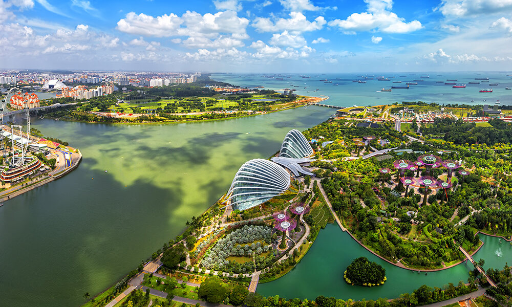 a wide aerial shot of Singapore