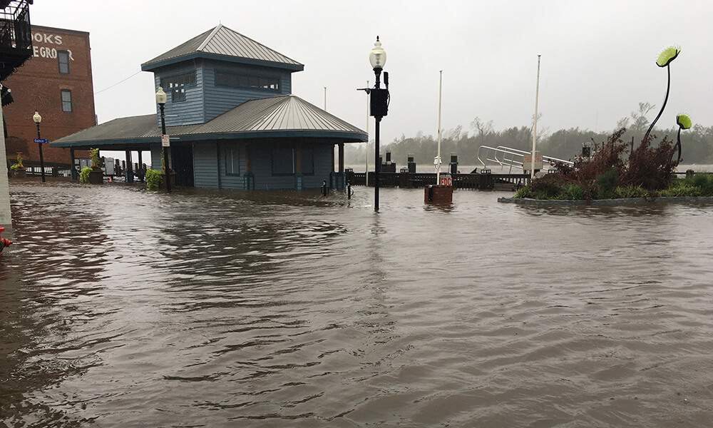 a flooded neighborhood in the aftermath of a hurricane