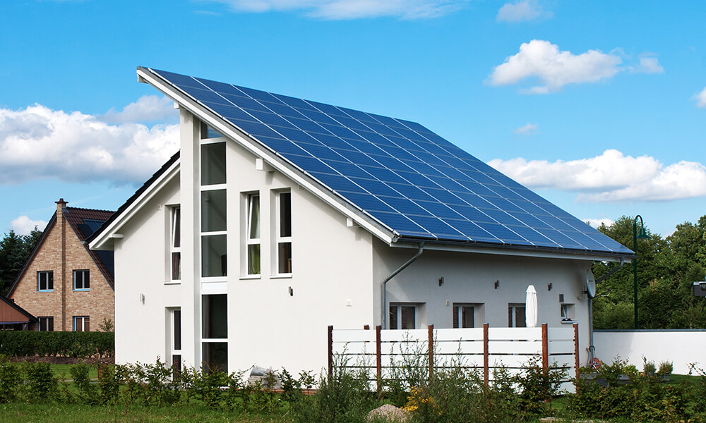 a house with a solar roof